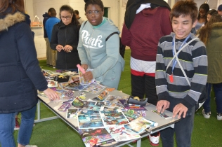Students working with used comic books.